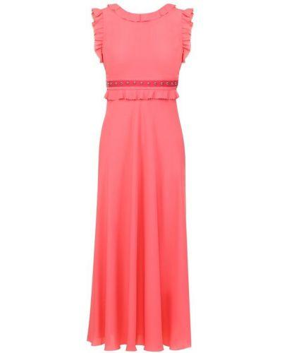 Платье миди коралловый с завышенной талией Redvalentino