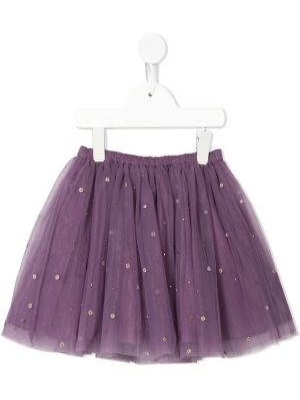 Прямая фиолетовая юбка из фатина с поясом Velveteen