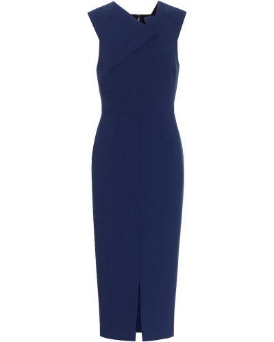 Синее платье миди стрейч из вискозы Roland Mouret
