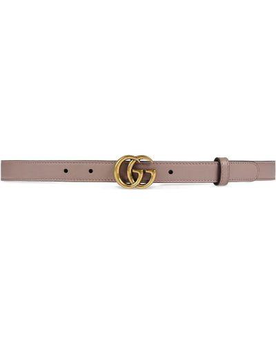 Тонкий ремень с пряжкой кожаный Gucci