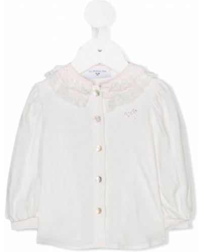 Рубашка с логотипом белый Monnalisa