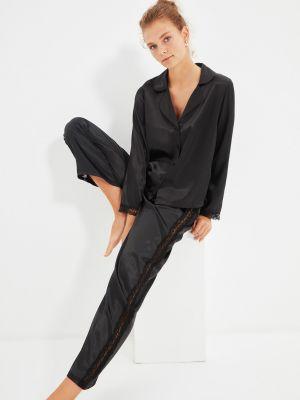 Satynowa piżama - czarna Trendyol