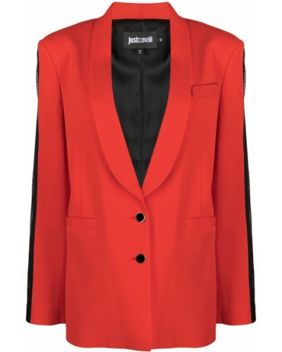 Однобортный черный удлиненный пиджак с длинными рукавами Just Cavalli