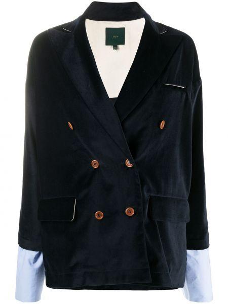 Синий классический пиджак двубортный на пуговицах Jejia