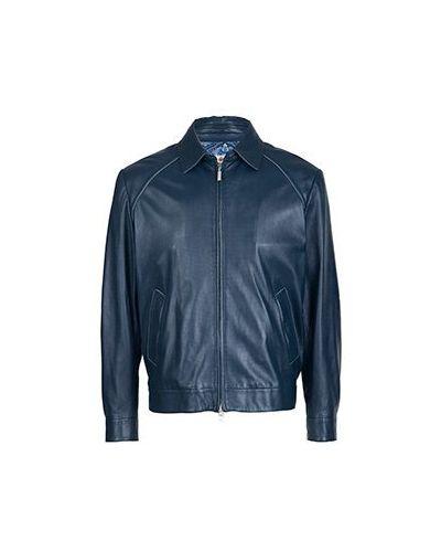 Кожаная куртка синяя Castangia
