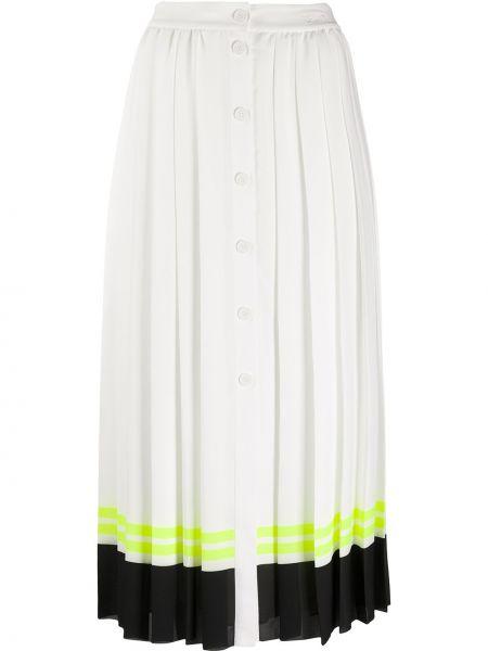 Белая с завышенной талией плиссированная юбка миди Karl Lagerfeld