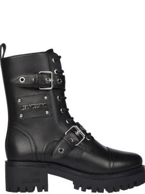 Ботинки на каблуке осенние кожаные Love Moschino
