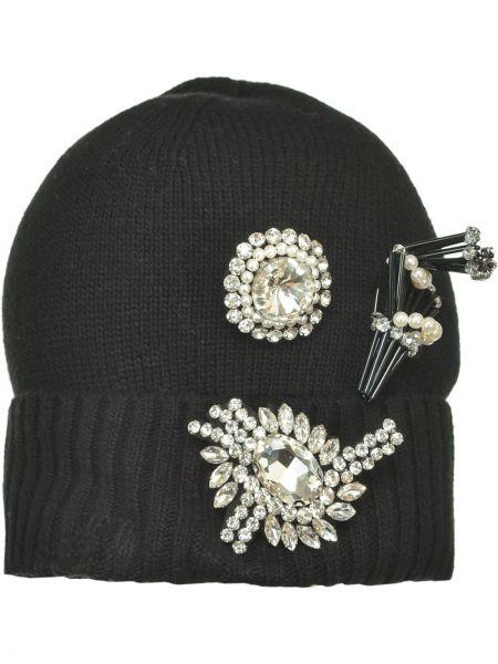 Czarny bawełna bawełna czapka rozciągać Pinko