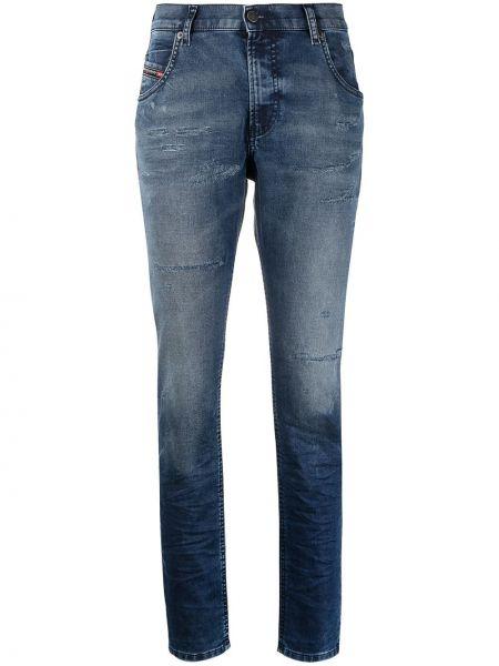 Niebieski z wysokim stanem jeansy chłopaki z kieszeniami Diesel
