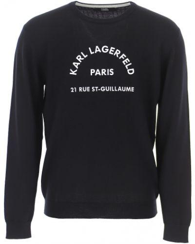 Czarny sweter bawełniany z długimi rękawami Karl Lagerfeld