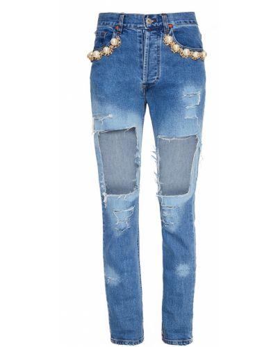 Джинсы на пуговицах - голубые Forte Couture