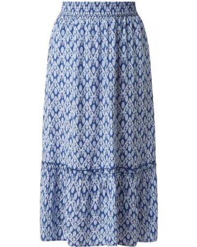 Niebieska spódnica midi rozkloszowana z falbanami Christian Berg Women