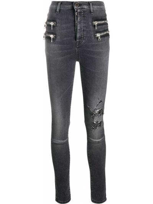 Хлопковые серые джинсы с нашивками на молнии Unravel Project