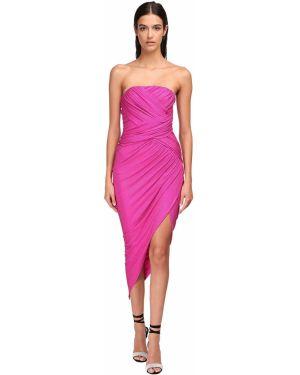 Różowa sukienka midi asymetryczna srebrna Alexandre Vauthier