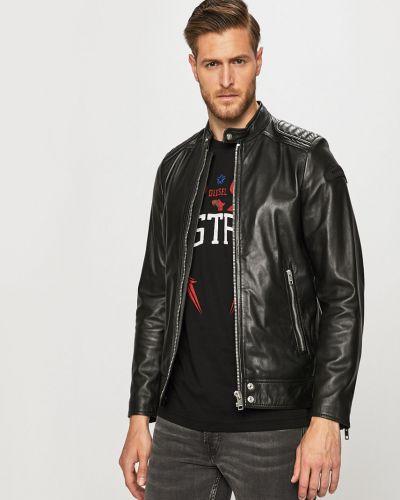Прямая черная облегченная кожаная куртка на молнии Diesel