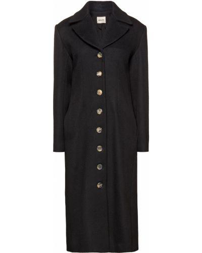 Шерстяное черное пальто с карманами Khaite