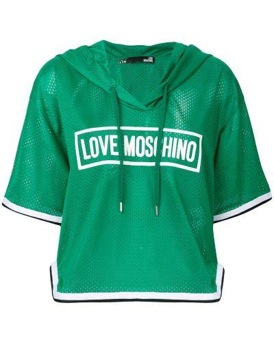 Футболка с капюшоном из полиэстера Love Moschino