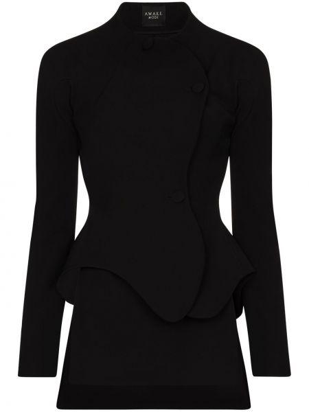 Черный удлиненный пиджак с баской на пуговицах A.w.a.k.e. Mode
