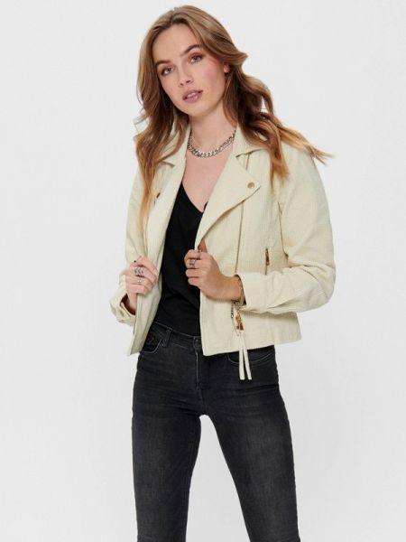 Кожаная куртка весенняя белая Only