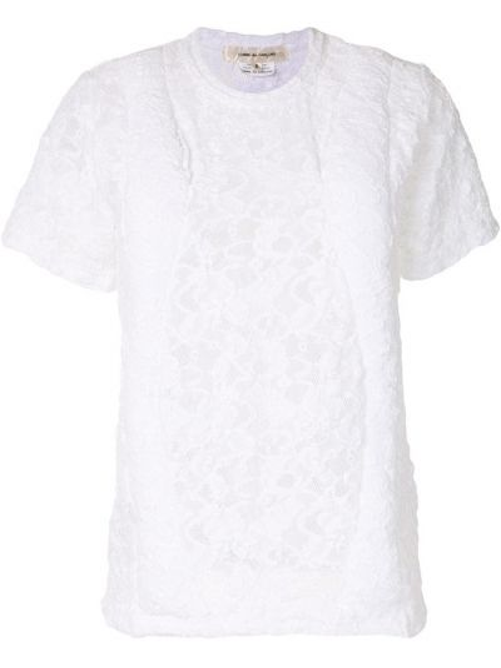Хлопковая белая футболка с вырезом Comme Des Garçons