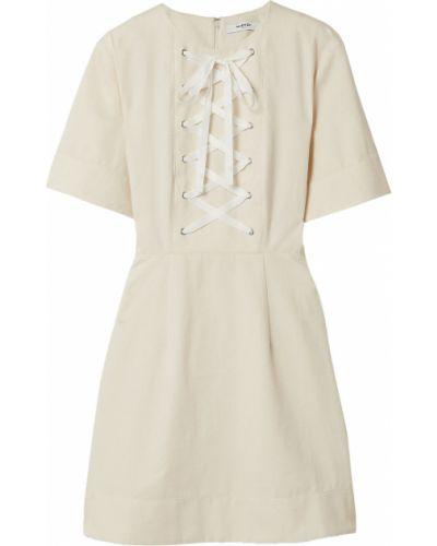 Хлопковое бежевое кружевное платье мини Marysia