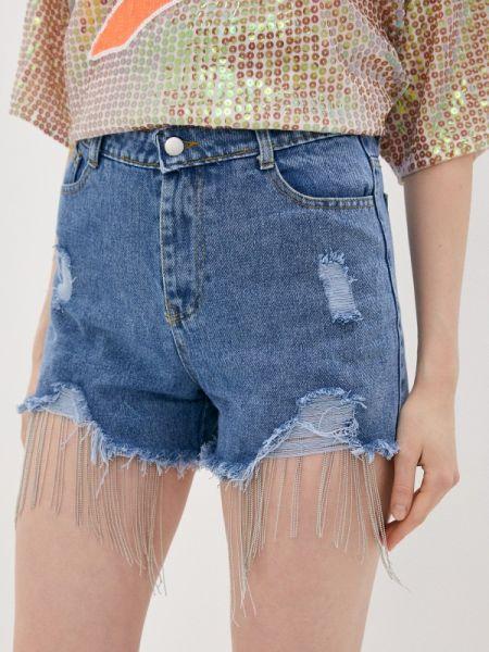 Синие джинсовые шорты со стразами Care Of You