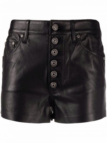 Черные с завышенной талией кожаные шорты Dondup