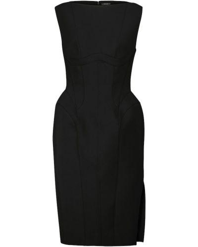 Трикотажное черное платье миди стрейч Mugler