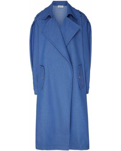 Прямое синее пальто с воротником ли-лу