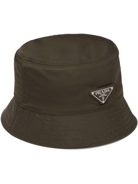 Zielony kapelusz srebrny Prada