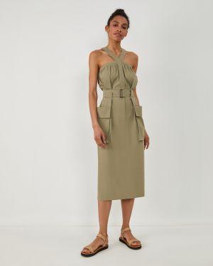 Оливковое платье с карманами 12storeez