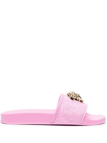 Różowe klapki peep toe Versace