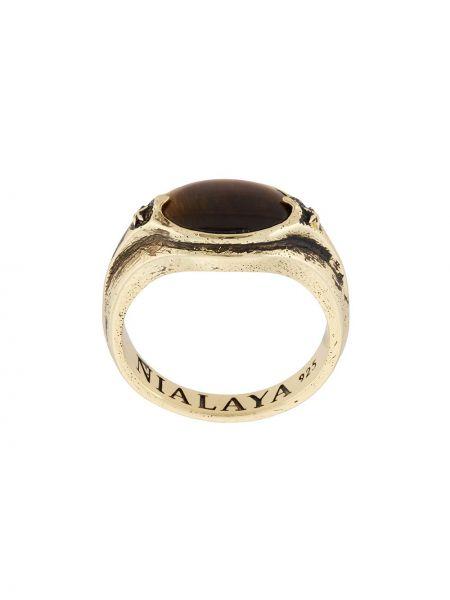 Золотистое кольцо золотое с камнями Nialaya Jewelry