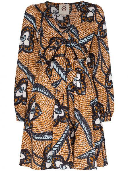 Niebieska sukienka mini z długimi rękawami bawełniana Figue