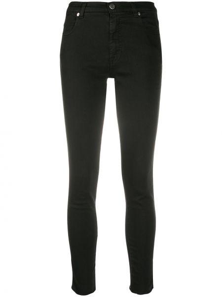 Хлопковые черные джинсы-скинни с нашивками на молнии Pt01