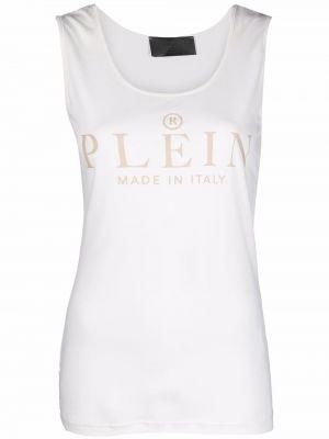 Biała T-shirt z nadrukiem z printem Philipp Plein