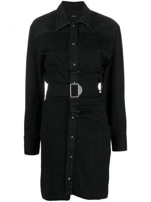 Черное платье-рубашка с поясом с воротником Diesel