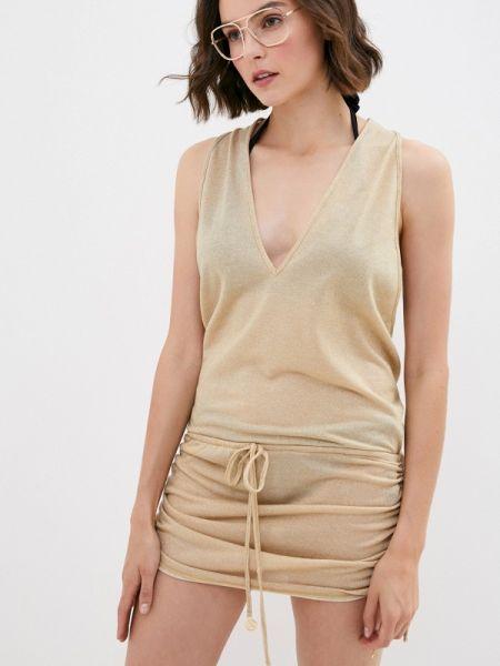 Пляжное пляжное платье золотое Luli Fama