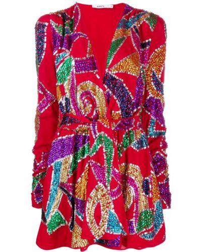 Красное платье мини с пайетками из вискозы Amen.