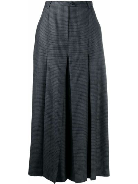 Серые укороченные брюки с нашивками со складками свободного кроя Maison Margiela