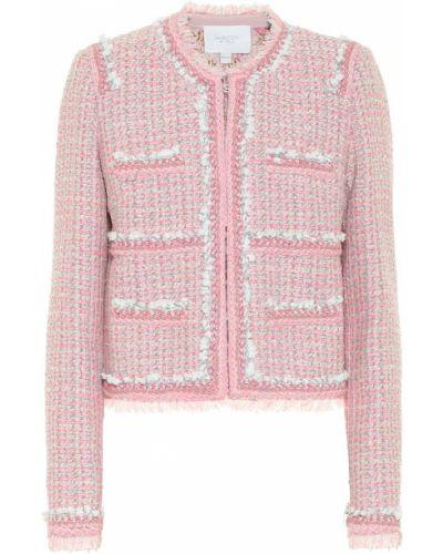 Ватная розовая куртка твидовая для полных Giambattista Valli
