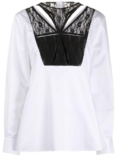 Белая кружевная блузка с длинным рукавом на пуговицах с вырезом Christopher Kane