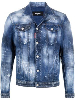 С рукавами синяя джинсовая куртка с воротником Dsquared2