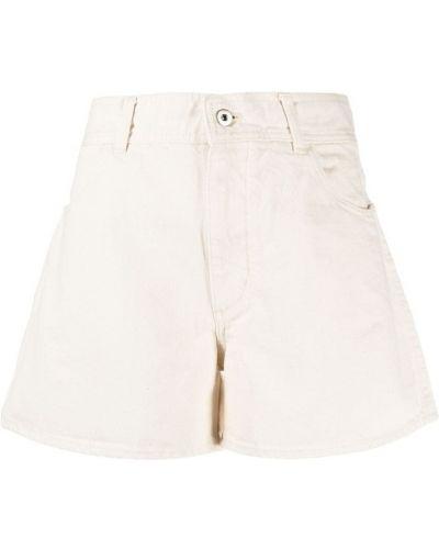 Beżowe szorty jeansowe z wysokim stanem bawełniane Jil Sander