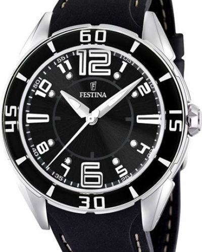 Кварцевые часы водонепроницаемые с подсветкой с люминесцентными стрелками Festina