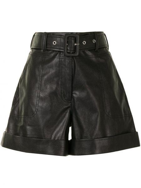 С завышенной талией кожаные черные шорты Tanya Taylor