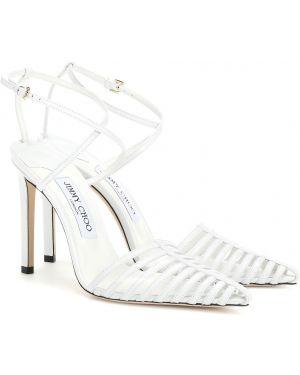 Туфли на каблуке кожаные без каблука Jimmy Choo