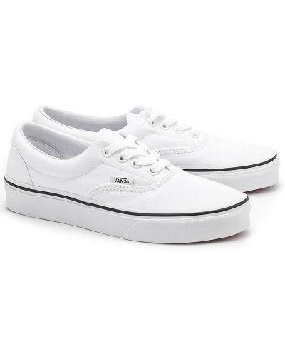 Текстильные белые кеды на шнурках Vans
