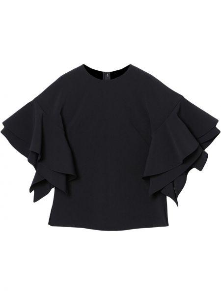 Прямая с рукавами черная блузка Carolina Herrera
