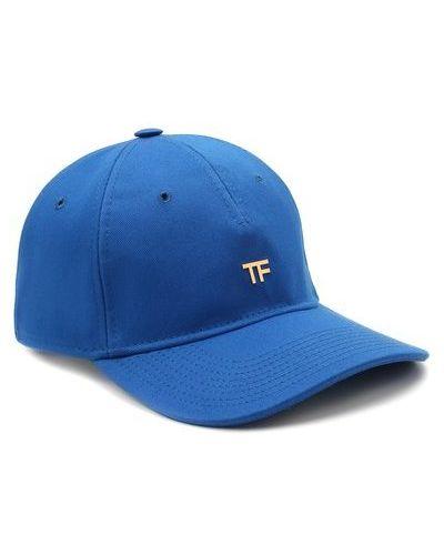 Золотистая кожаная синяя бейсболка Tom Ford